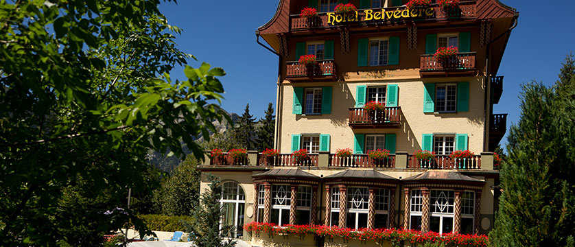Hotel Belvedere, Wengen, Bernese Oberland, Switzerland - entrance and exterior in the summer.jpg